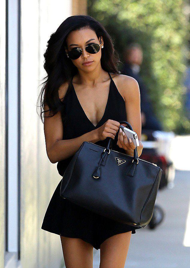 Black dress + black Prada bag