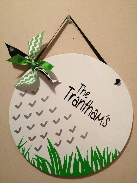 Wooden Golf Ball Door Hanging, door hanger, wall hanging, gift, decor on Etsy, $30.00