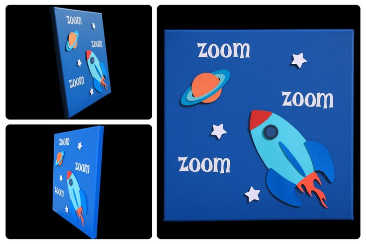 3D Nursery Art - Rocketship, Planet, Stars - zoom zoom zoom