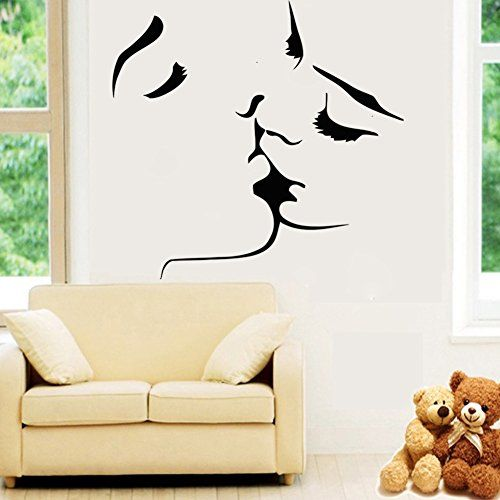 Removable Vinyl Accent Wall Tape: Amaonm New Desgin Couples Kiss Wall Decals Removable Vinyl