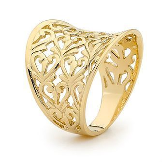Gold Ring - Wide Band - Filigree - BEE-44288