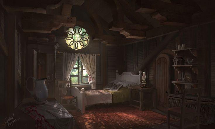 cabin artstation fantasy anime bedroom interior medieval castle artwork annie concept backgrounds episode landscape origins gabriel legends league scenery houses