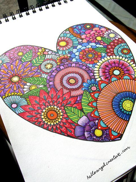 Pour Rachel ..... ton prochain bricolage ???? Floral Heart by Hello Angel Creative, via Flickr