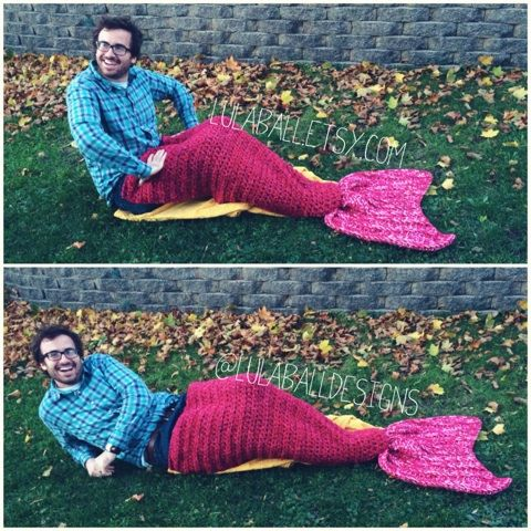 Mermaid Tail or Merman Tail ADULT SIZE Blanket  the by LulaBall