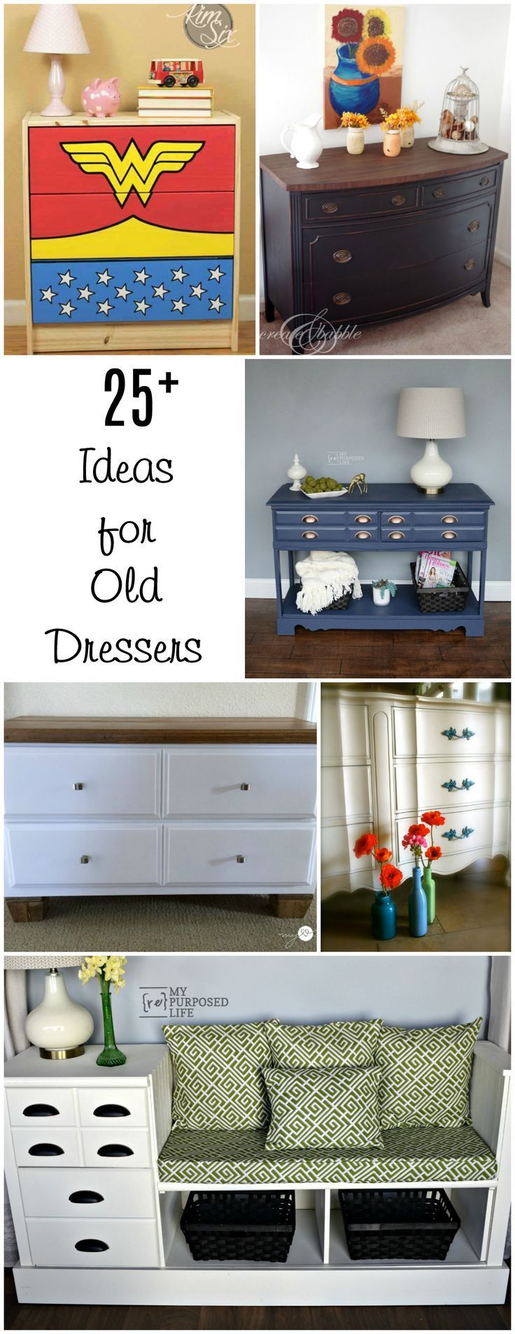 An old dresser is perfect for repurposed furniture projects and makeovers with paint & stencils. Ideas for that old dresser you have waiting in storage.