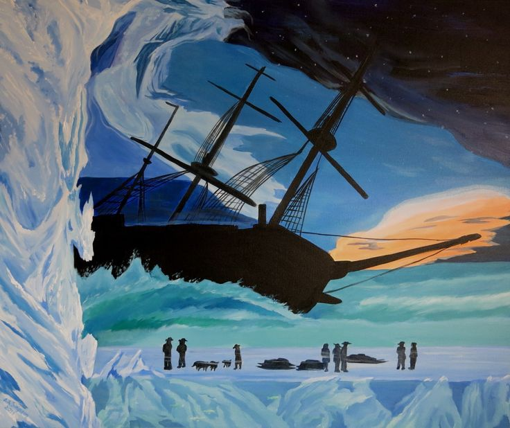Franklin's Erebus Abandoned - trapped for years in the icebergs of the Arctic