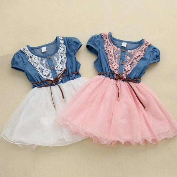 White & Baby Pink Solid Denim Lace Dress With Belt #Frocks #Denim #Lace