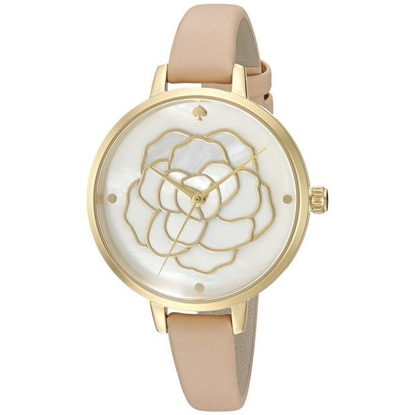Kate Spade New York Metro Watch - KSW1207 (Vachetta/Gold) Watches ($225) ❤ liked on Polyvore featuring jewelry, watches, kate spade jewelry, yellow gold watches, gold watches, gold jewelry and kate spade