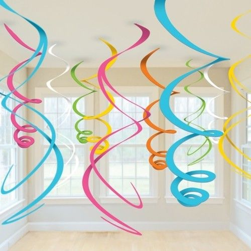 HANGING SWIRLS PARTY DECORATION (12pk) - Blue, Pink, White, Multi Coloured | eBay                                                                                                                                                                                 Más