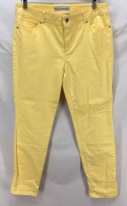 Chicos Platinum Ultimate Fit Womens Yellow Jeans Size 1.5 - MINT! #Chicos #UltimateFit