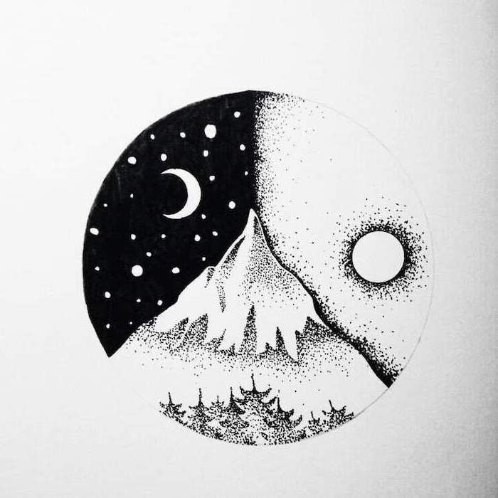 easy drawings drawing sketch night draw doodling landscape improve mountain animals memory concentration sketches cool during half help mountains archzine