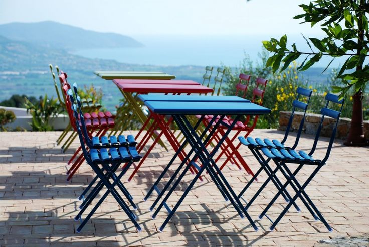 Clorful chairs and sea view - Borgo la Pietraia