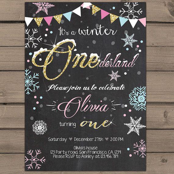 Winter ONEderland invitation Birthday party door Anietillustration