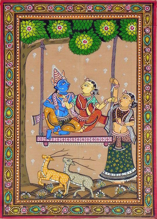 Radha Krishna on a Swing with Gopini (Orissa Paata Painting on Tussar Silk - Unframed))