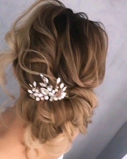 Wedding hair clip, Сappuccino wedding hair comb, Bridal jewerly set, Bridal hair accessory, Hair comb, Bridal earrings         he width of the decoration is approximately 3 inches (7 cm) The set to the comb offers earrings length 2-2.5 (6-7 cm) from the fastener.