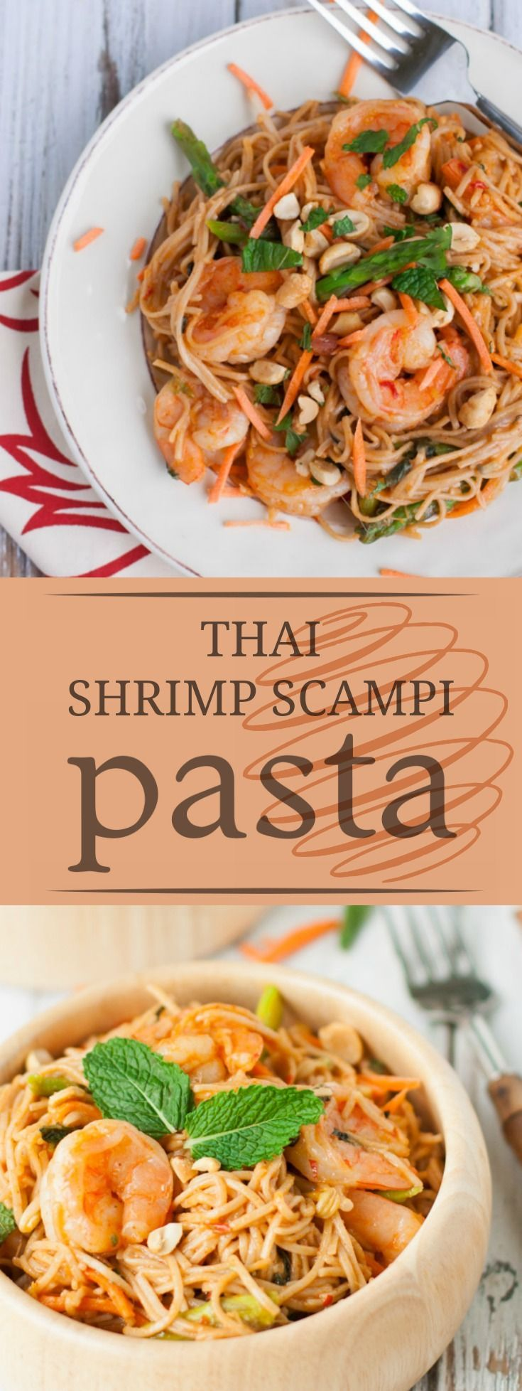 Thai Shrimp Scampi with Whole Wheat Pasta | Exotic, hearty, and delicious, this healthy dish is suprisingly simple! Seafood lovers of all ages will ADORE this! | http://WorldofPastabilities.com
