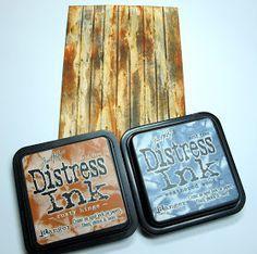 Woodgrain tutorial using glue and distress inks