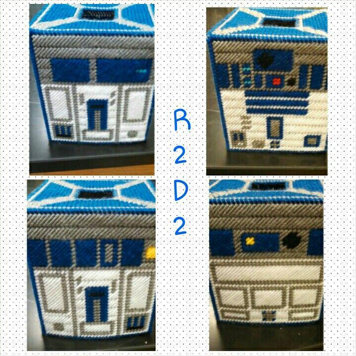R2D2 Plastic Canvas Tissue Box Holder