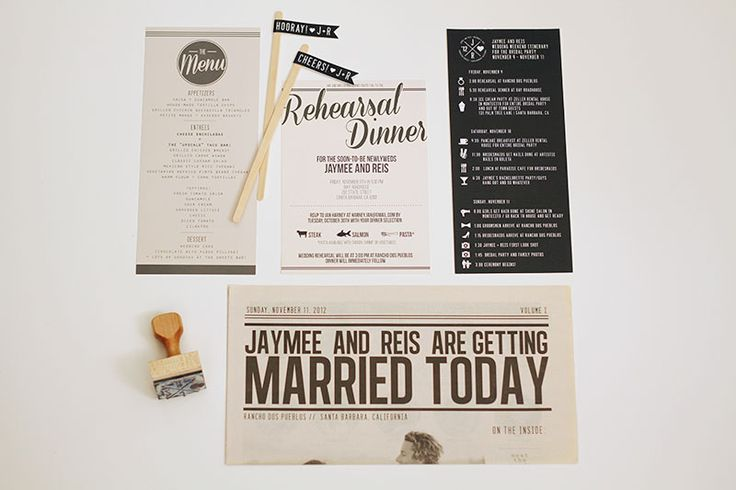 Modern Rehearsal Dinner Invitations and Wedding Stationery by JayAdores Design Co. via Oh So Beautiful Paper (8)
