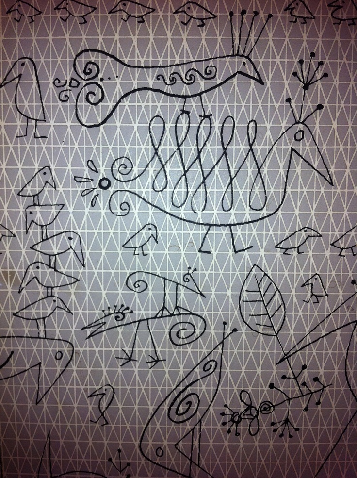 Wallpaper by Saul Steinberg- in our hallway
