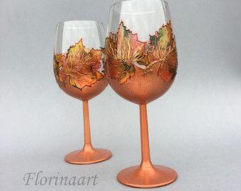 22 º aniversario de boda, 7 º aniversario de boda, aniversario, copas, vasos pintados a mano, hojas de otoño, las hojas de arce de cobre