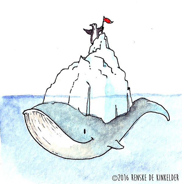Quick little doodle, topic was 'iceberg'. Loved thinking of a penguin keeping a whale company on their adventures. Watercolor and micron pen. Renske de Kinkelder