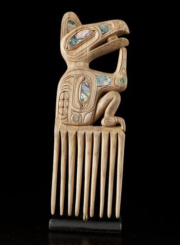 Raven, Cormorant, Bear Comb by Michael (Mike) Epp, Tsimshian (Gitlaan) artist (W121005)