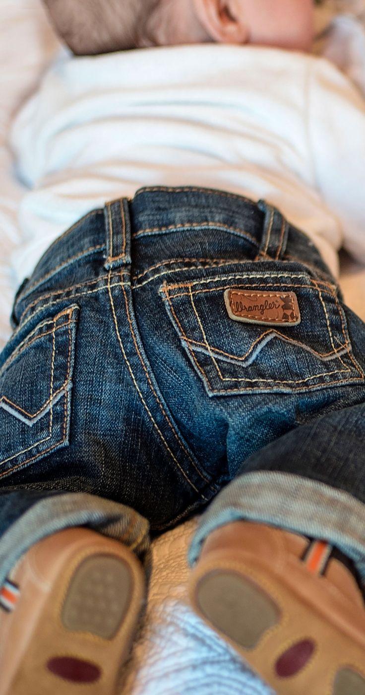 """Wrangler All Around Baby Boy's Blue """"W"""" Pocket Jeans"""
