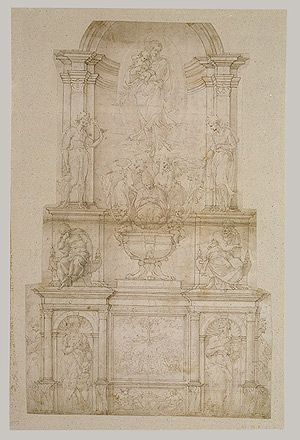 Project for a Wall Tomb for Pope Julius II Michelangelo Buonarroti (Italian, 1475–1564). By 1505, eight years before his death, Pope Julius II della Rovere had plans for a grandiose tomb in Saint Peter's Basilica (Vatican City) and entrusted Michelangelo with the project. (www.metmuseum.org).