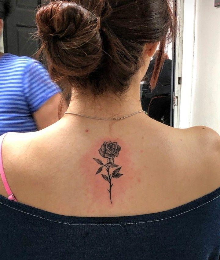 Rose Spine Tattoo Tattoosonback Rose Neck Tattoo Back Of Neck Tattoo Back Tattoo
