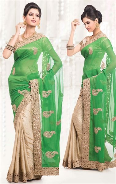 Picture of French Beige and Green Color Saree With Attractive Embroidered Pallu