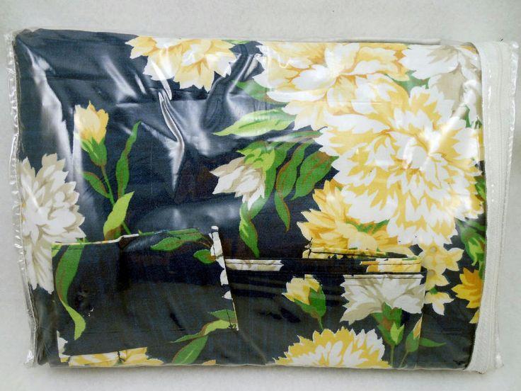 Vintage Nautica Sara Lined Rod Pocket Drapes U.S.A Navy Blue Yellow Floral #2