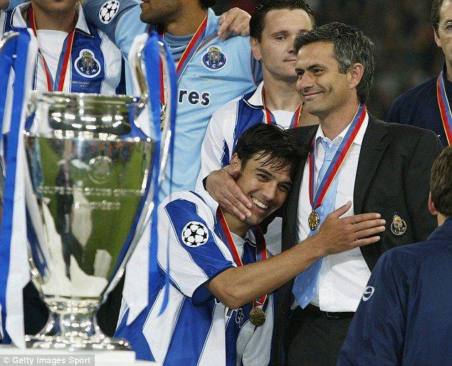 Jose Mourinho hugs Nuno Valente after Porto's Champions League final win against Monaco in 2004