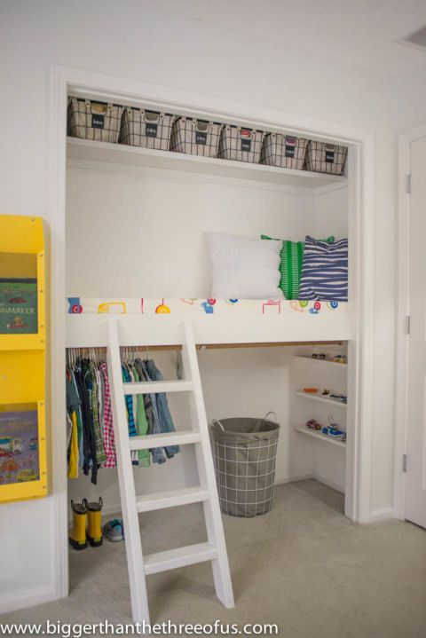 Every kid loves little hiding spots to play in. Ashley of Bigger Than the Three of Ustransformed her son's lackluster closet into a space that's part reading nook, part storage space. See more at Bigger Than the Three of Us >>