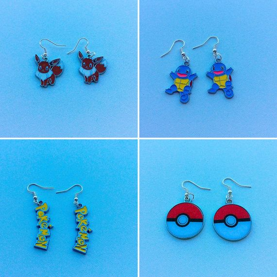 Pokemon charm earrings valentines gifts for her by PetalcraftArt