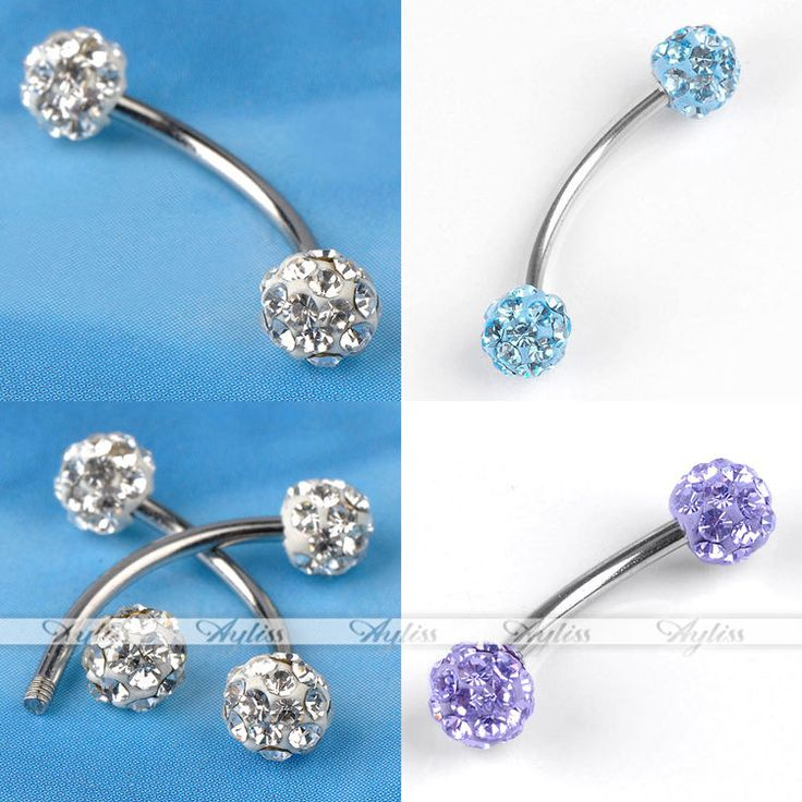 1x Stainless Steel 18G Czech Crystal Barbell Bars Curved Eyebrow Ring Piercing #Unbranded