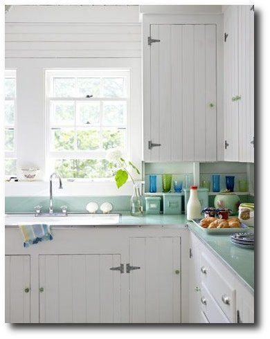 These 1930s kitchen cabinets were updated by adding for Beadboard kitchen cabinets for sale