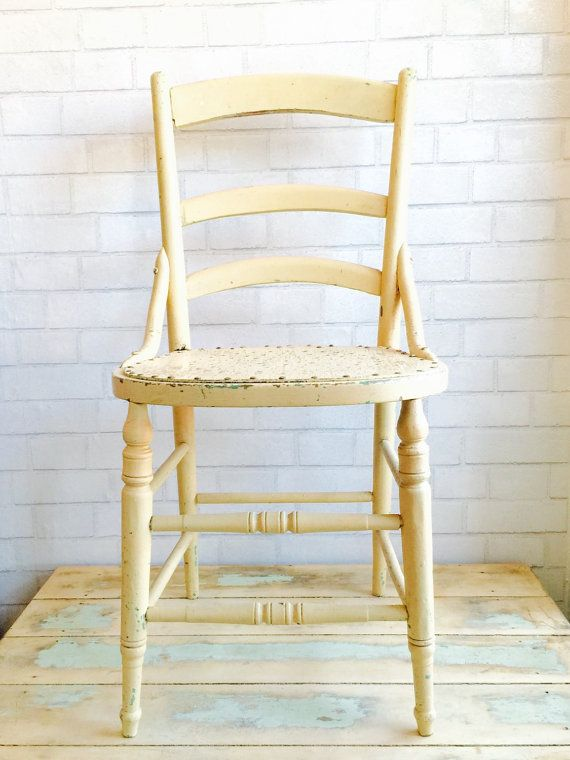 Butter Yellow Farmhouse Chair  Perforated by PiccadillyPrairie