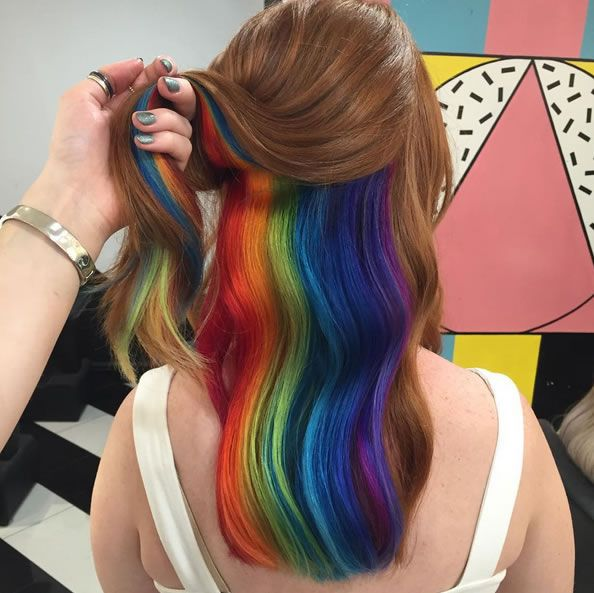 Hidden rainbow roots is the new hair trend from London