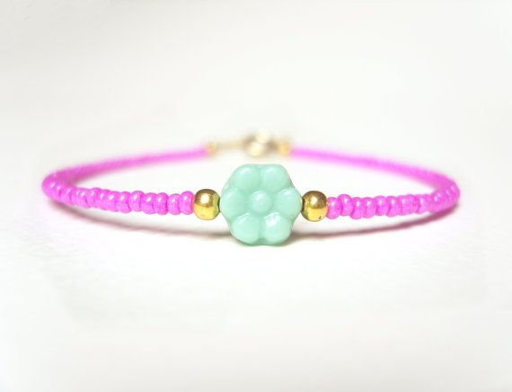 Beaded Friendship Bracelet, Flower Bead Bracelet, Hot Pink Bracelet, Layering Bracelet, UK Seller