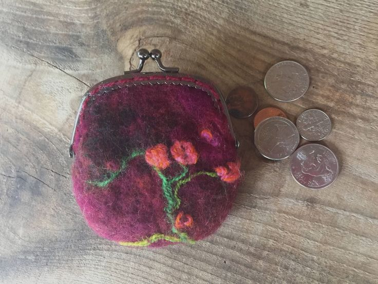 Felted Coin Purse, Felted Purses, Felt Purse, Kiss Clasp Felted Pouch, Small Needle Felted Change Purse, Unique Gifts for Women by sweetnola on Etsy https://www.etsy.com/listing/553805113/felted-coin-purse-felted-purses-felt