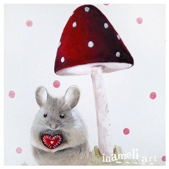 Mouse illustration, lovely mouse wall art, nursery room decoration, red toadstool, children animal print, by inameliart