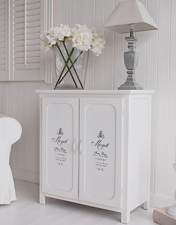 Antique White French Side Cabinet, side phot for living room