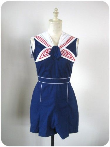 Nautical Playsuit with detatchable collar - repro 30's from vintage patterns