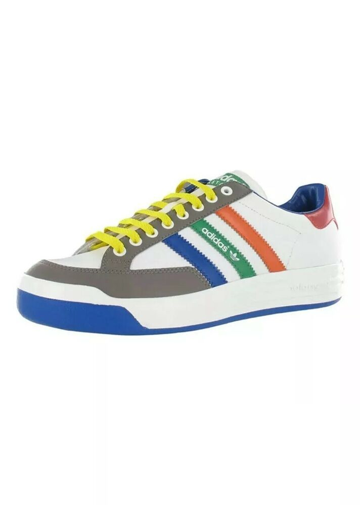 ADIDAS MEN'S NASTASE LEATHER SNEAKERS WHITEMULTICOLOR NEW