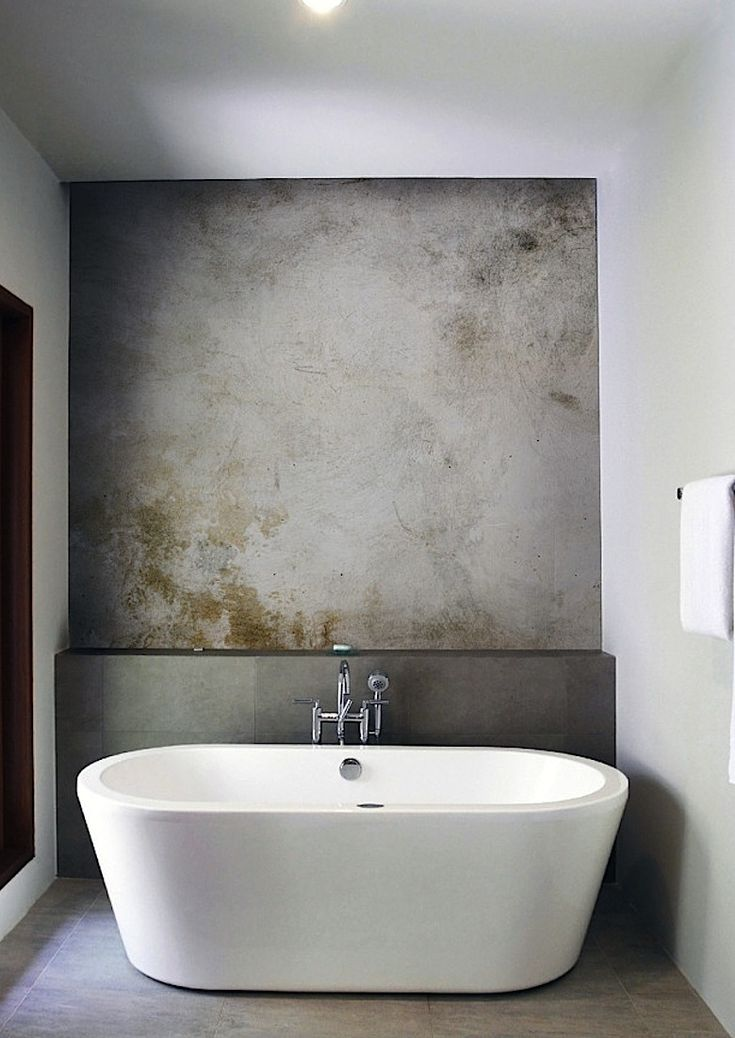 Textured Concrete Wall With A Moss Effect For A Feature Wall Behind The  Bathtub // Minimalist Design // Modern Urban Bathroom // Minimalism
