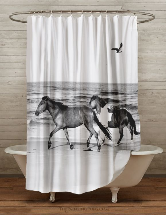 Galloping Beach Horses Equestrian Shower Curtain Horse Room Horse Shower Curtain Bathroom Decor