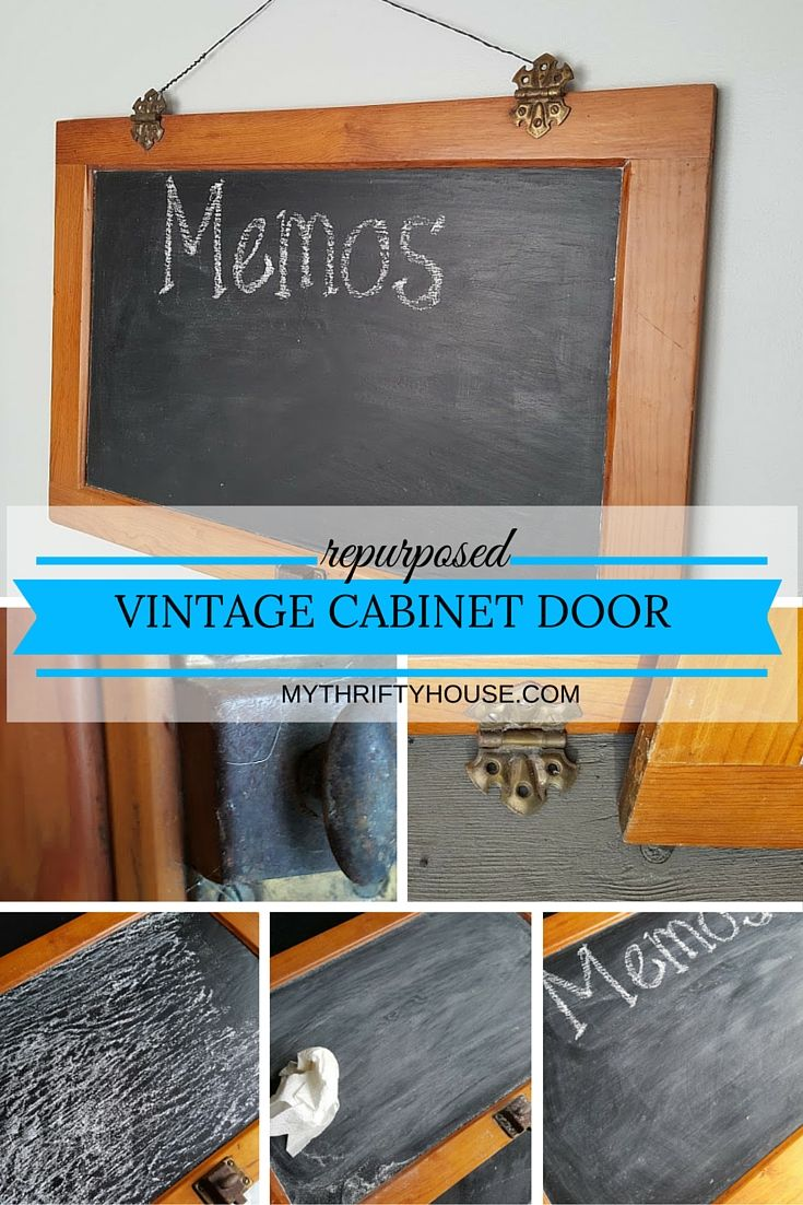 When I found this vintage cabinet door at a local junk shop I instantly knew that I could repurpose it into a chalkboard for my kitchen.  I fell in love with the old wood, ornate hinges and the metal, locking knobs. Taking something old and repurposing, recycling and reusing it into something new is what I love to do with my junkin' finds.