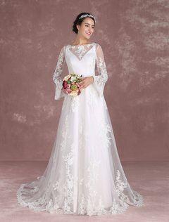 Vestido de novia boho de línea A Con cola con escote barco con manga larga Sin espaldo de marfil Tela Satén de encaje