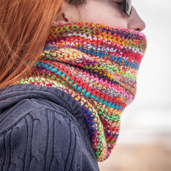 Multicolored Crochet Neckwarmer / Rainbow Color by RUKAMIshop
